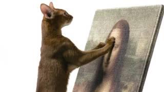 いつもの遊びが閑雅な遊戯に、名画を模した猫の爪とぎ