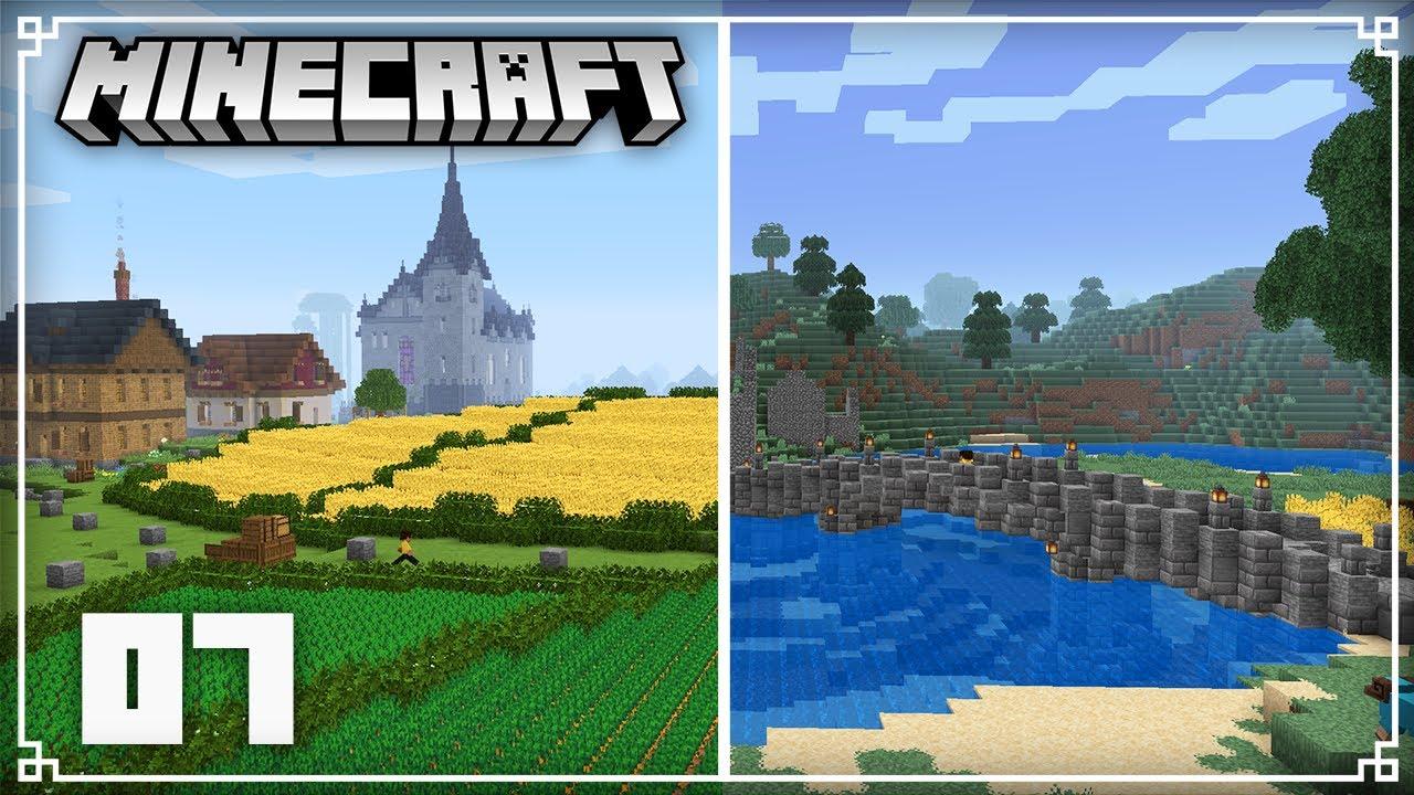 Building a Medieval Bridge & Custom Farmland!   Minecraft 1.16 Survival Lets Play