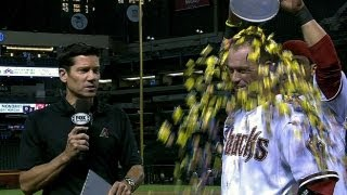 Hill gets ice water shower after walk-off hit