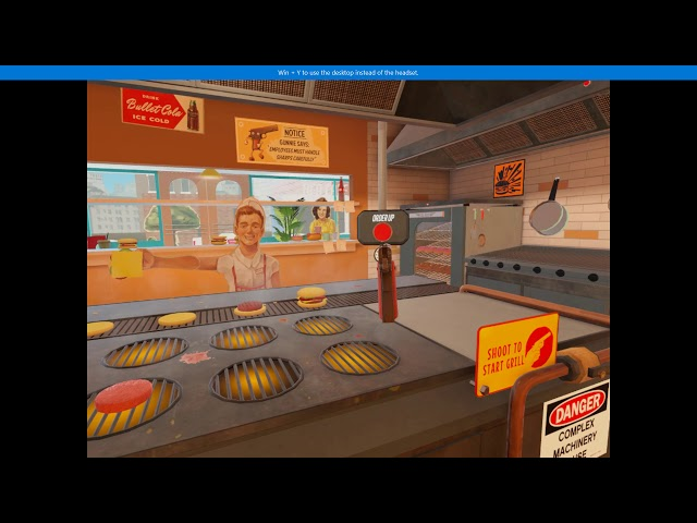 The American Dream PC VR gameplay (Lenovo Explorer) - Flipping burgers with guns
