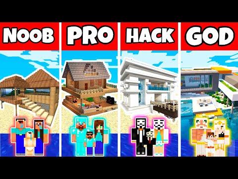Minecraft: FAMILY BEACH HOUSE BUILD CHALLENGE - NOOB vs PRO vs HACKER vs GOD in Minecraft