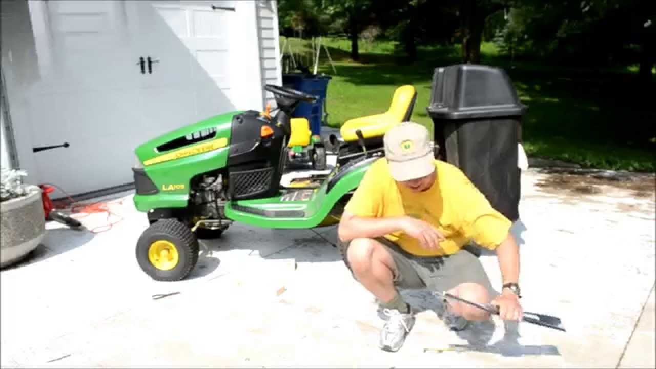 how to replace the blades on a john deere la lawn mower tractor [ 1280 x 720 Pixel ]