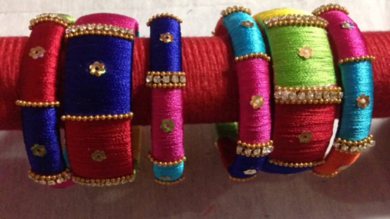 34e7254852095 multi colour silk thread bangles /how to make silkthread bangles