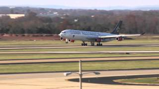 sas a340 landing at dulles nose gear up too long