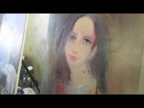 Портрет маслом на холсте, уроки для начинающих, милый портрет