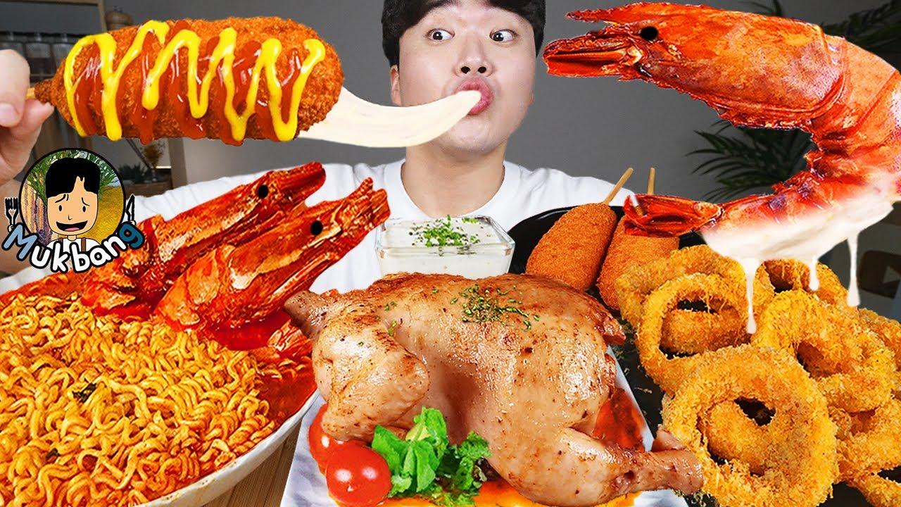 ASMR MUKBANG 불닭볶음면 & 치즈 핫도그 & 양념 치킨먹방! FIRE Noodle & FRIED CHICKEN & CHEESE HOT DOG EATING SOUND!