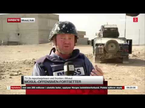 Norwegian reporter getting shot at by ISIS on live TV in Iraq