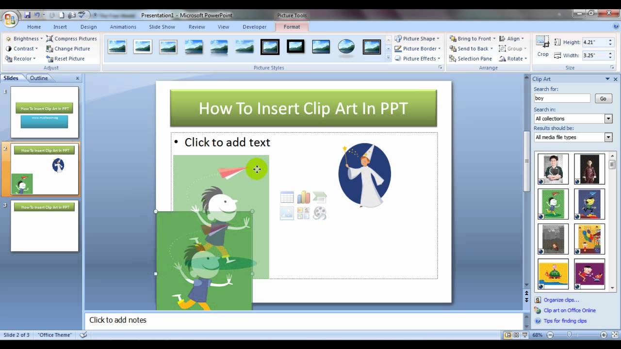 How To Insert Clip Art In PowerPoint (English) - YouTube