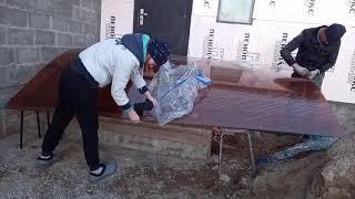 Козырек над крыльцом на металокаркасе из поликарбоната своими руками.Стройка дома своими руками.