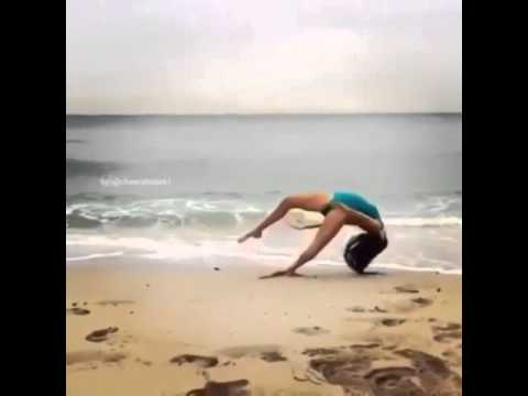 e62ae4a7b Cheerleader Practicing Front Flip On the Beach -  EpicFail - YouTube