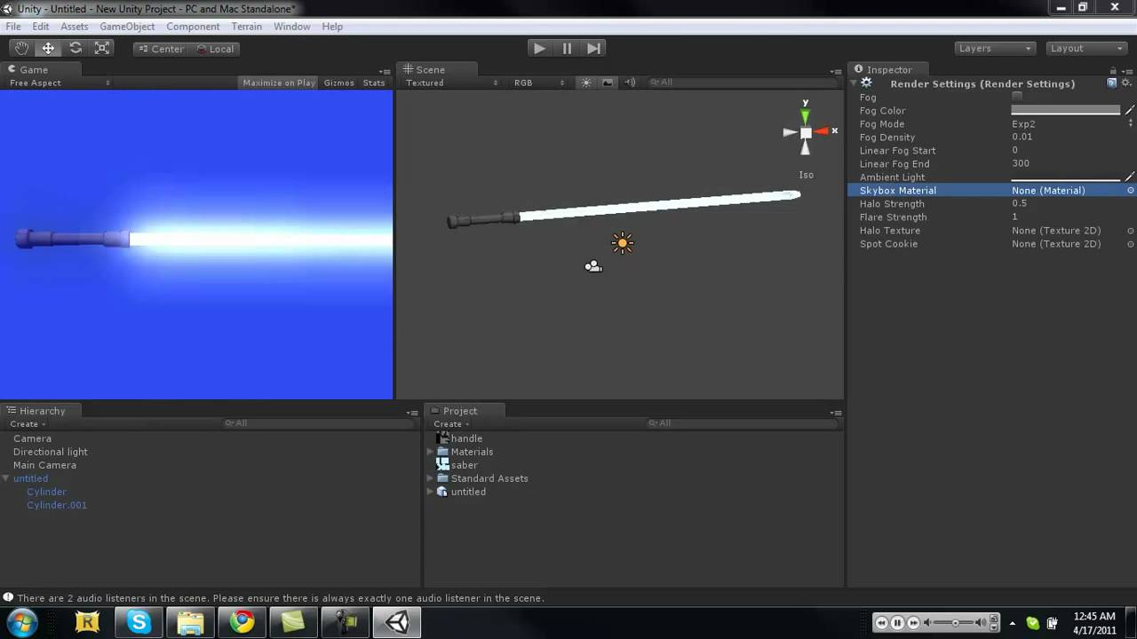 How to fake a demo of making a light saber by adding a bloom effect to the  camera