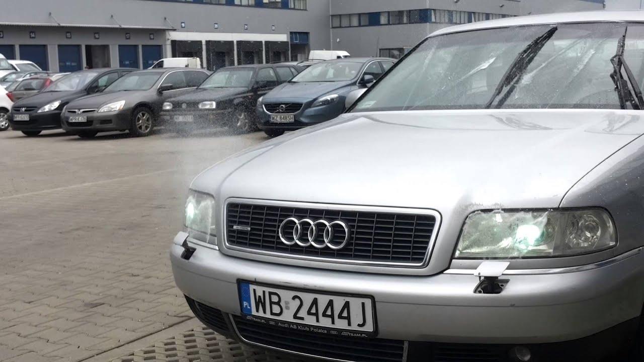 Audi A8 Headlights : Audi a d fl headlight washer jet spray in action