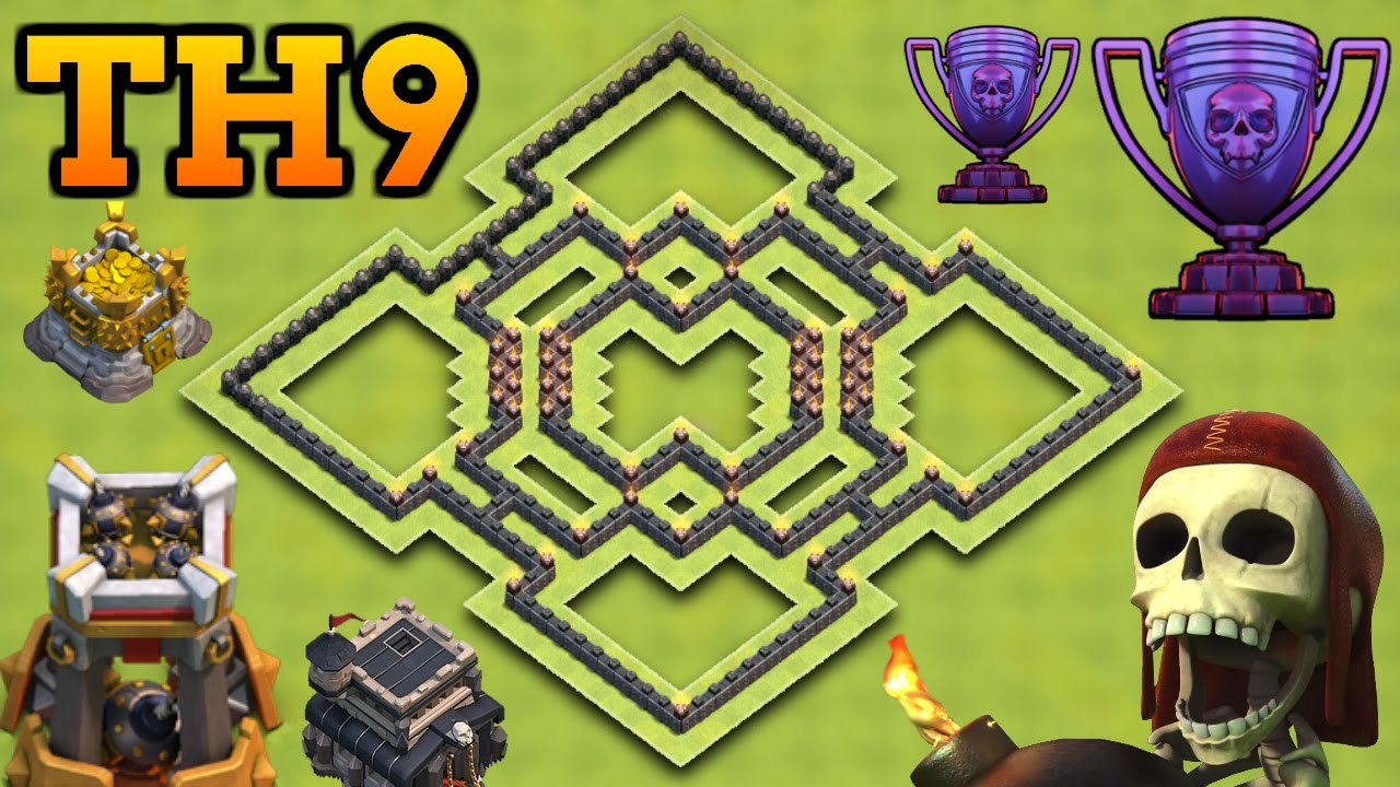 Clash of clans best th9 hybrid base with bomb tower town hall 9