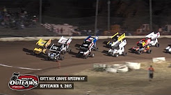Highlights: World of Outlaws Sprint Cars Cottage Grove Speedway September 9th, 2015