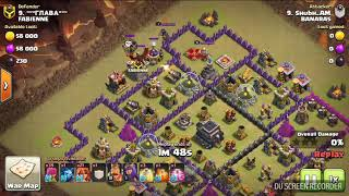 My Friend 1st TH9 Attack , In War - Using Power potion Spell | Clash Of Clans