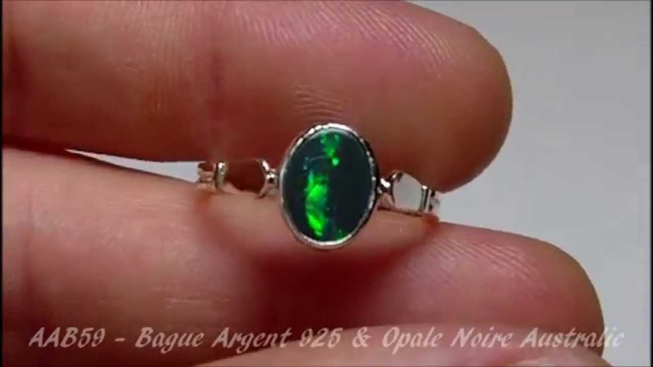 Bague opale noire argent