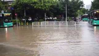 Flooded Street in Shenzhen, China due to Heavy Rain