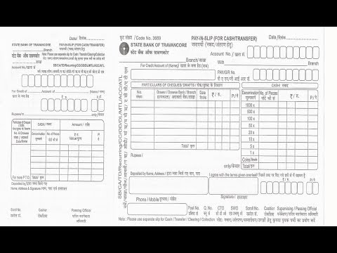 IN-How to fill SBT Bank deposit slip for cheque or cash deposit - pay in slips