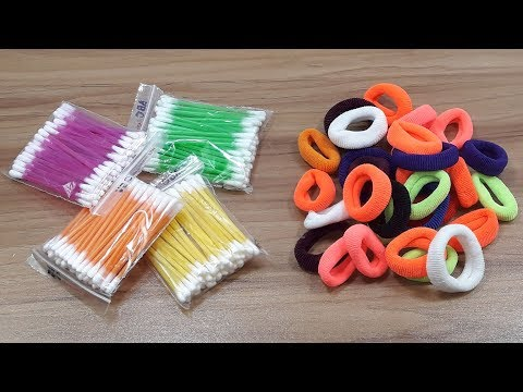 Cotton buds & DIY Hair rubber bands craft idea   DIY arts and crafts   DIY cotton buds
