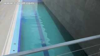 Cubierta de persiana para piscina desbordante