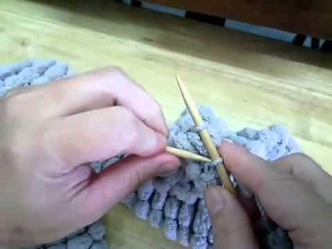 ผ้าพันคอนิตติ้งไหมพรมปอมปอม