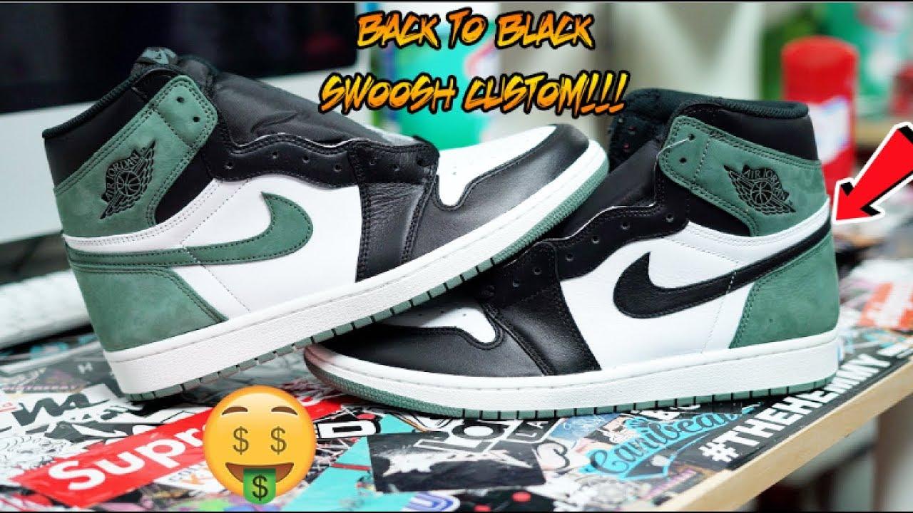 33cc7d3a3467 AIR JORDAN 1  CLAY GREEN  BACK TO BLACK SWOOSH CUSTOM!!! - YouTube