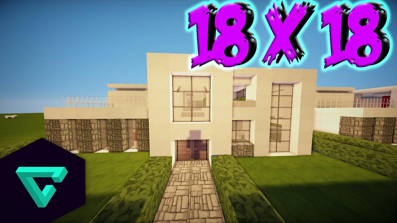Minecraft como hacer una casa moderna 18x18 youtube for Como disenar una casa moderna