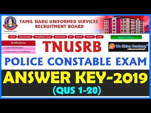 TNUSRB Police Constable Exam Answer Key 2019 | Question 1 - 20 | We Shine Academy
