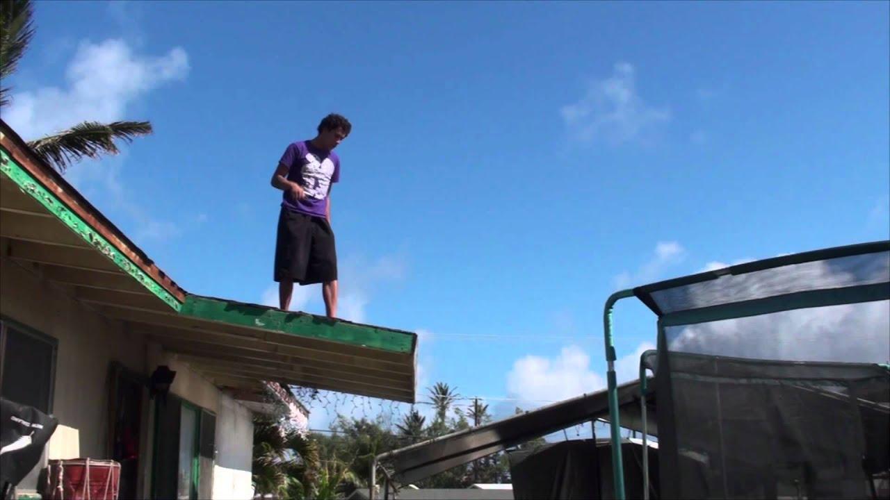 Peer Pressure Win Roof To Trampoline Jump Fail Youtube
