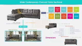 Maier Contemporary Charcoal Fabric Sectional