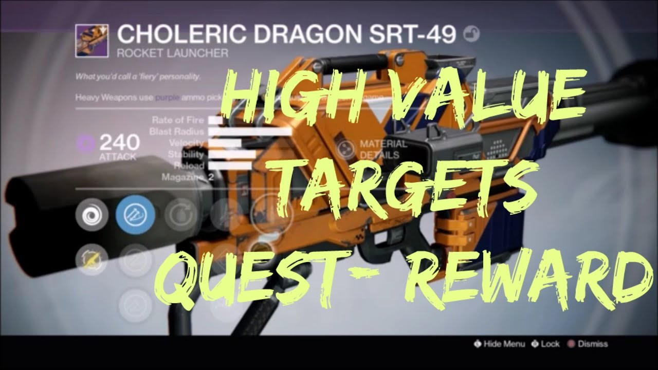 Destiny ttk high value target quest finale reward legendary marks