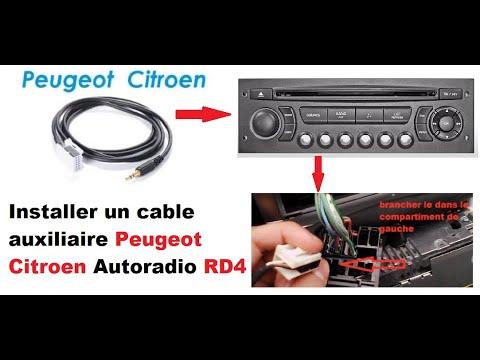 INSTALLER CABLE AUXILIAIRE PEUGEOT CITROEN AUTORADIO RD4