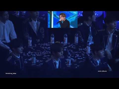 180214 - Wanna One [워너원] reacting to Seventeen's [세븐틴] performance in Gaon Chart Music Awards