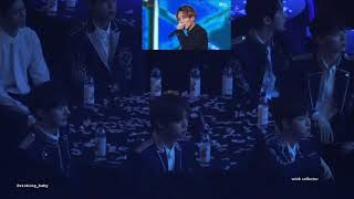 180214 - Wanna One [워너원] reacting to Seventeen's [세븐틴] performance in Gaon Chart Music Awards
