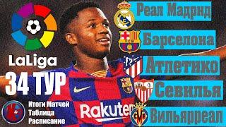 ЛА ЛИГА 34 Тур Итоги матчей Чемпионат Испании 2019 2020 Расписание 35 тура Барселона или Реал