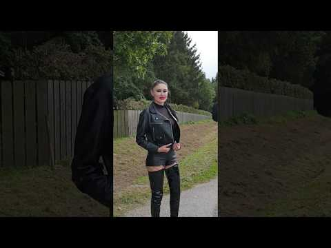Granate Styling, Walking In Public, PVC Crotch High Boots, Micro Shorts, Fishnet Tights