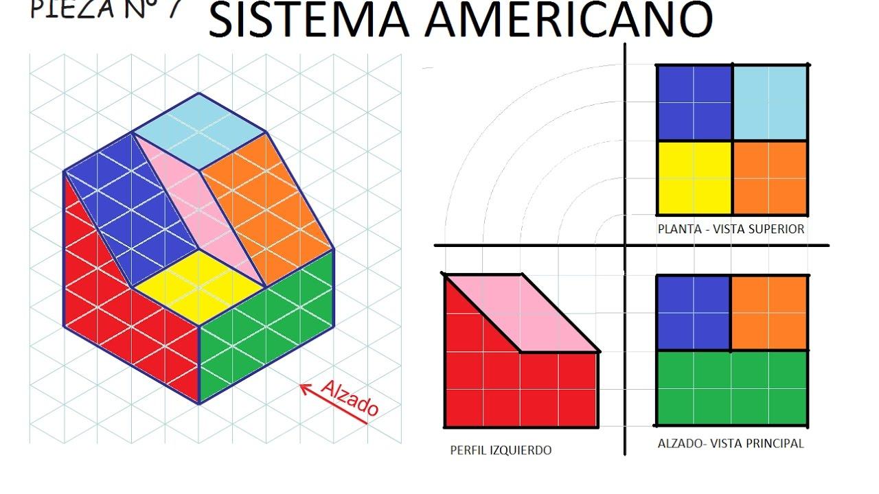 7 sistema americano ej 7 de ejercicios basicos de vistas for Plano de planta dibujo tecnico