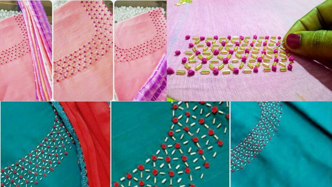 Easy Unique Hand Embroidery Design For Kurti Chudidhar Neckline