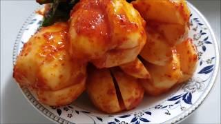 총각김치 담그는 법 - make a Whole Radish Kimchi(Chonggak-kimchi), チョンガーキムチ作り