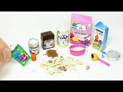 100% Real Miniature Baby Food Nestle DIY | cacao, milk, fruit, porridge