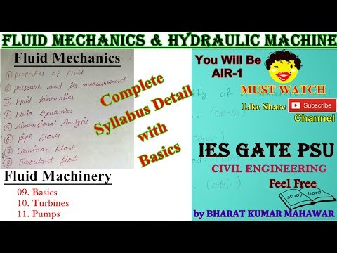 Fluid Mechanics & Hydraulic Machines Complete Syllabus Detail and Basics by Bharat Kumar Mahawar