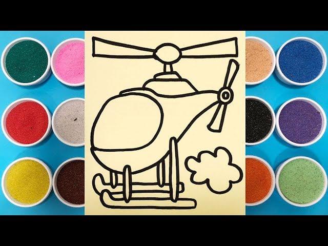 Tô màu tranh cát máy bay tr?c th?ng - Coloring helicopter - ?? ch?i tr? em Chim Xinh