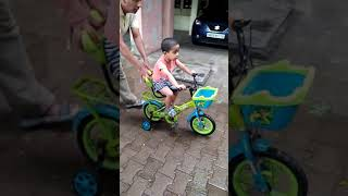 Baby Hari learns cycling at golden Jubilee Apt on 20.08.2019.