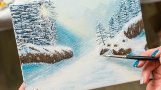 Beautiful weather in the Winter Pine Forest - Acrylic painting / Homemade Illustration (4k)