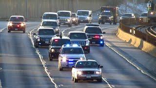 President Barack Obama's Motorcade on the Kennedy Expressway in Chicago ( I-90 )  [11.25.2014]