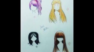 Anime 4 Farklı Saç Çizimi |  How to Draw Anime Hair