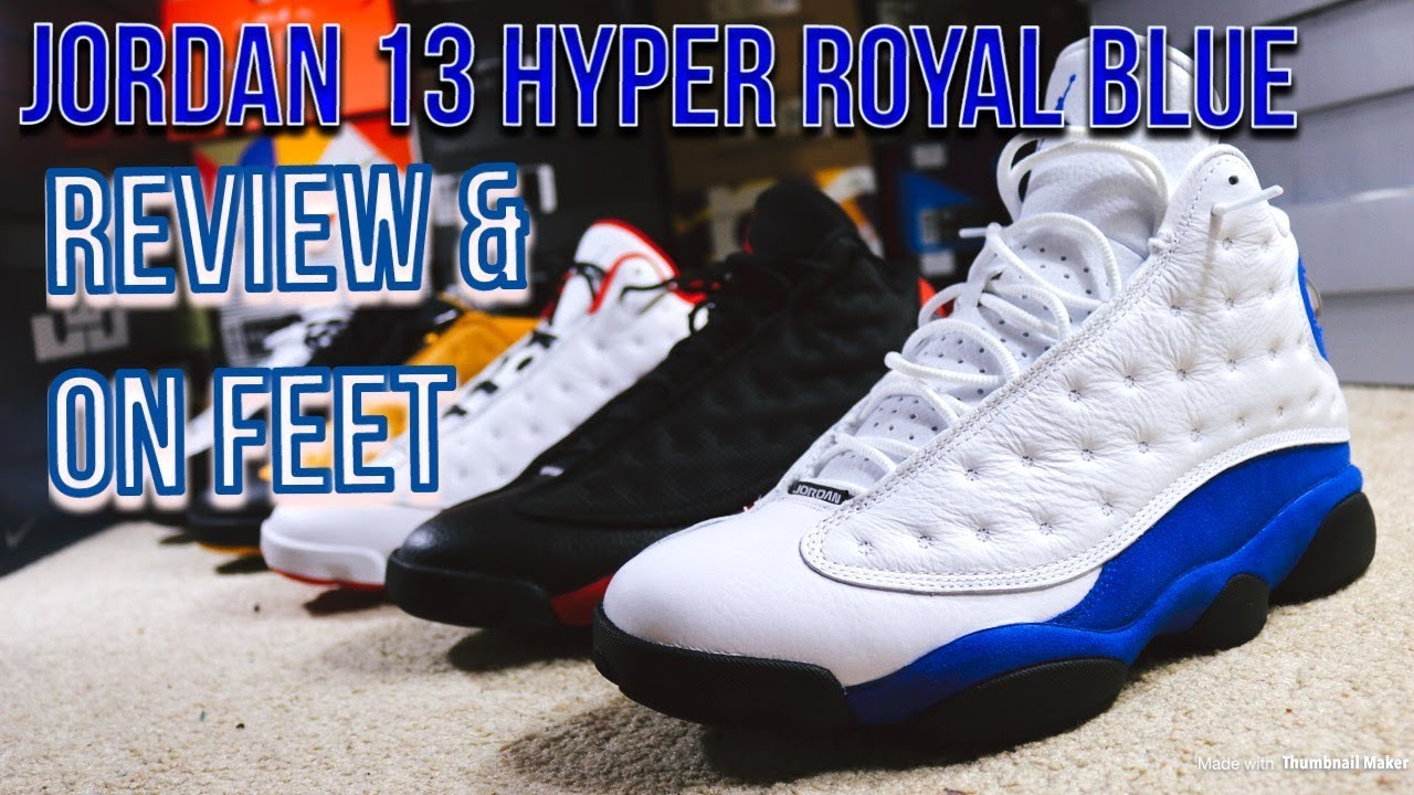 be5a5bec0fe AIR JORDAN 13 HYPER ROYAL BLUE REVIEW & ON FEET - YouTube