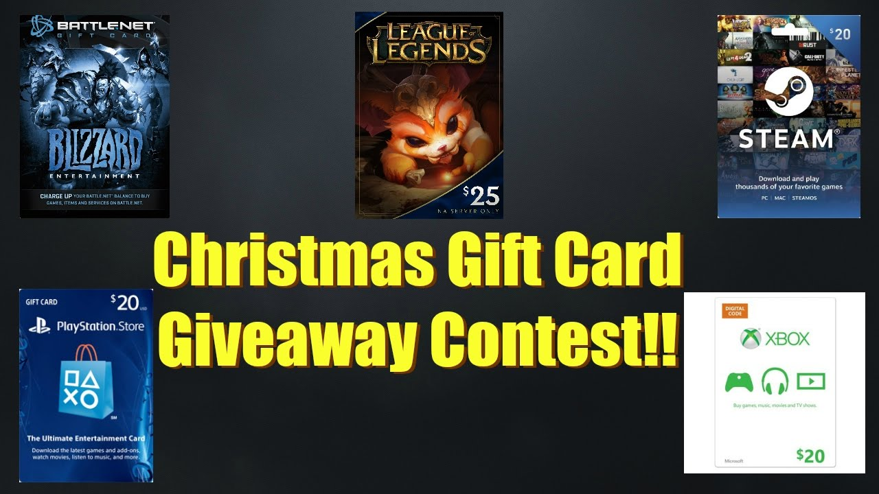 Christmas Gift Card Give Away! Blizzard, League of Legends, Steam ...