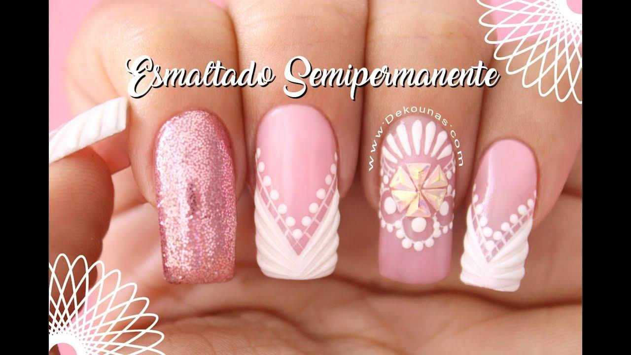 Diseño De Uñas Semipermanente Deko Uñas Gel Polish Nail Art Youtube