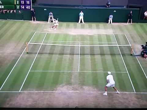 Winning moment Gilles Muller in Wimbledon 2017. Beaten Rafael Nadal